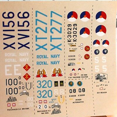 DECALS   Modeldecal set20 RN  Buccaneer S2  Dutch NF5A & DHC Beaver