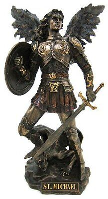 St. Michael Archangel Standing On Demon Statue Sculpture Figurine