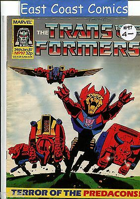 TRANSFORMERS # 97 - MARVEL UK WEEKLY COMIC 1980's