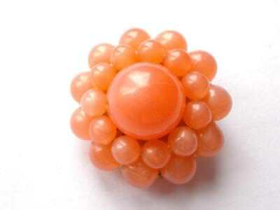 Vintage 1940's Coral Pink Peach Moonglow Lucite Bead Beaded Brooch - W Germany