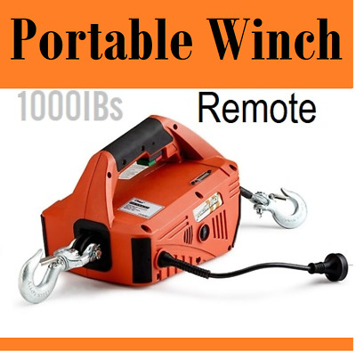 New 450kg 1000lbsTraction Block Portable Winch Traction Hoist / Remote Control