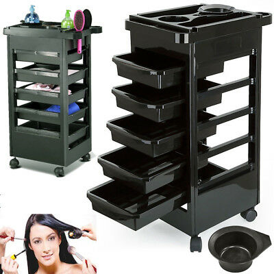 Salon Hairdresser Barber Beauty Storage Trolley 5 Drawers Cart Spa Tray DCUK