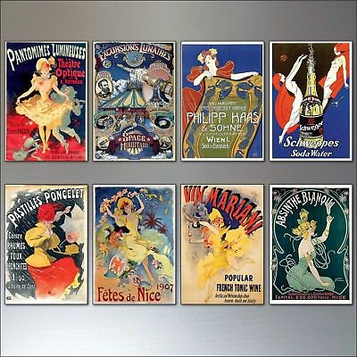 Vintage French Art Nouveau Bohemian Poster Prints Fridge Magnets set of 8 - No.2