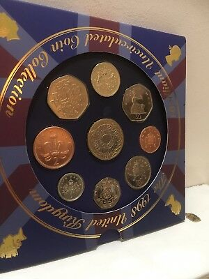 1998 Uncirculated UK coin Year set BU 9-coin Royal Mint Pack with rare £1 arms