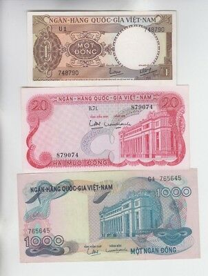 Viet Nam Paper Money 3 old notes Choice uncirculated