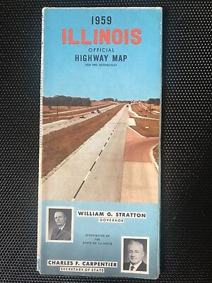 1959 Illinois official highway map