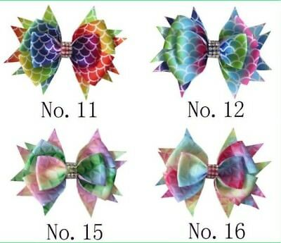 "50 BLESSING Girl 3.5"" Diamond Rainbow Stylish Hair Bow Clip Unicorn Clover Fruit"