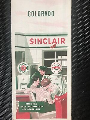 Vintage Sinclair service station map of Colorado