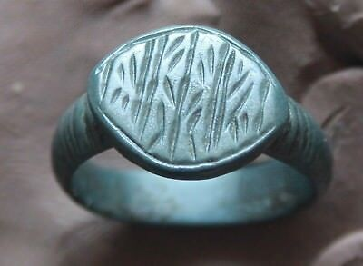 L6  Ancient Medieval Bronze Intaglio  Ring size D=20mm 6g  Quality