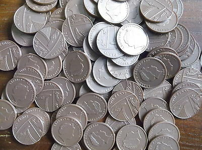 Maths for school  - 100 plastic 1p COINS - Sterling design play money -  NEW