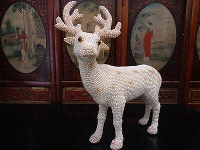 Large Authentic Cultured Pearl Deer Statue Sculpture