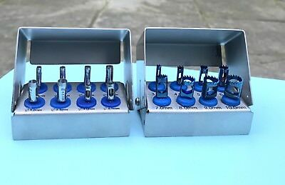 Dental Implant Trephine Drills Kit 8 Pcs & Tissue Punch Kit 8 Pcs New