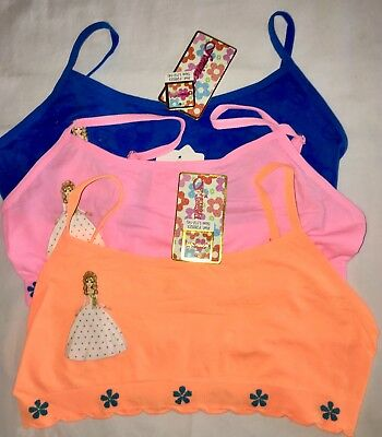 3 L GIRL TRAINING BRAS Princess Blue Neon Pink Stretch Top Bra 1st Bralette 32A
