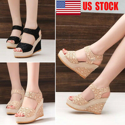 US Womens Open Toe High Heels Wedge Sandals Platform Pumps Clubwear Shoes Size