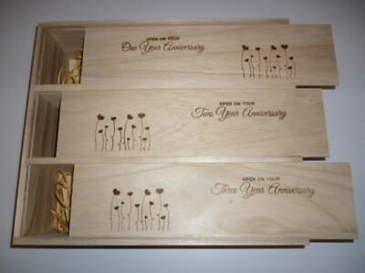 Wooden wine box - 3 year anniversary - 1 bottle for each year (No wine included)