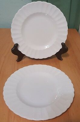 """Lot 2 Susie Cooper replacement White ribbed 6.5"""" Bread & Butter Plates used"""