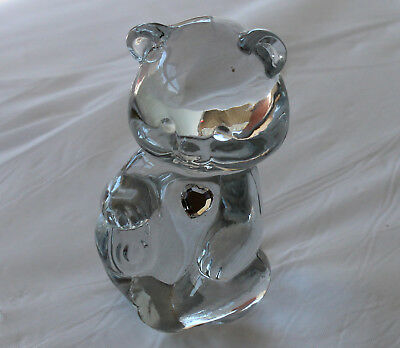 Vintage FENTON Glass Birthday TEDDY BEAR Figurine Clear Heart APRIL