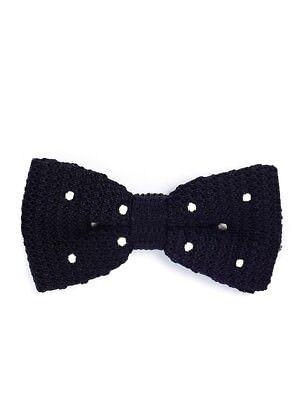 Black w/White Dots Knitted Bow Tie