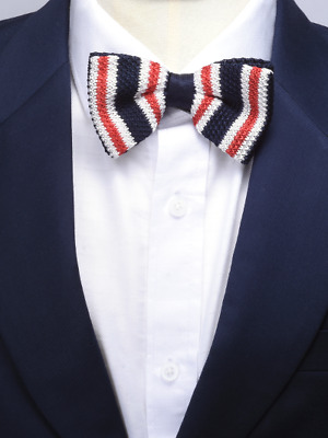 Navy w/Red Stripe Knitted Bow Tie