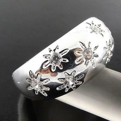 Ring Genuine Real 925 Sterling Silver Sf Ladies Antique Diamond Simulated Design