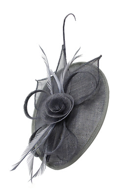 Ladies Day Royal Ascot Races Grey Fascinator Wedding Hat Headband Clip Hair UK