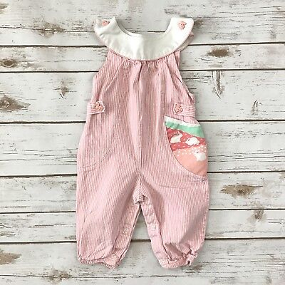 HEALTHTEX Girls Size 9m Pink White Striped VINTAGE Bunny Easter Long Romper