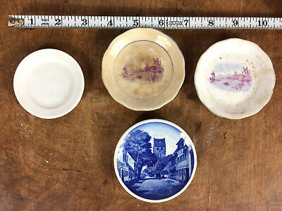 1800's Antique 1875 Butter Pats Small Mini Porcelain Plates Vintage