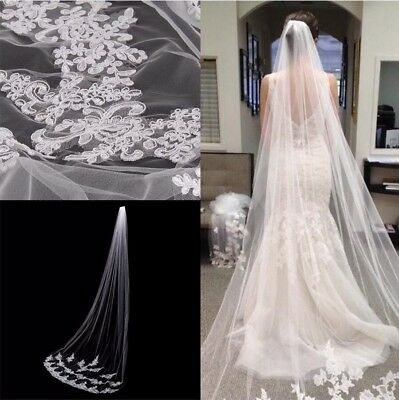 Brides Bridal Ivory Cathedral Veil 1 Tier Soft Net Lace Cut Edge With Comb