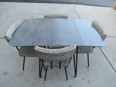 Original 1950's Black/White Dining Table With 4 Chairs