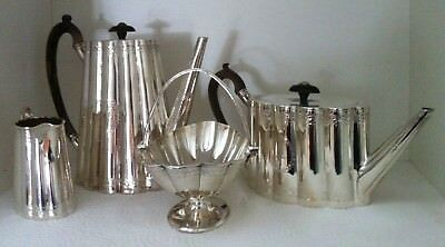 Antique Sterling Victorian Coffee and Tea Service with Creamer and Sugar Basket