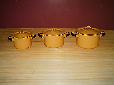 Vintage Yellow Enamelware 6 pc made in Poland # 14,16,18