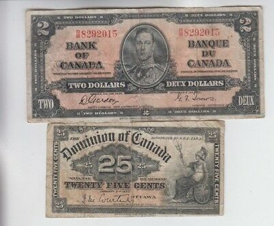 Canada Paper Money 2 old notes vg-fine stain