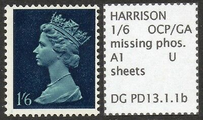 GB SPECIALISED PRE-DECIMAL 1/6d MISSING PHOSPHOR ERROR, MNH
