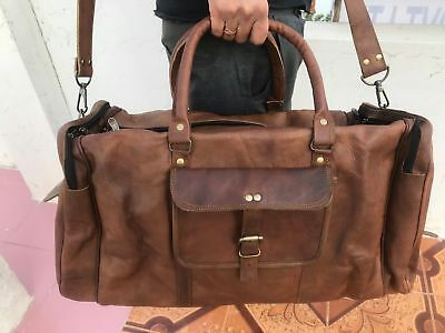Real Leather Bag Travel Men Gym Duffle Luggage Brown Vintage New Tote Bags Goat