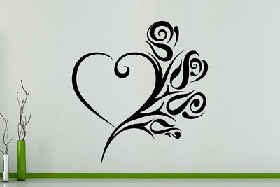 Roses Heart Art Logo Tattoo Style Modern Wall Art Decal Sticker Picture Poster