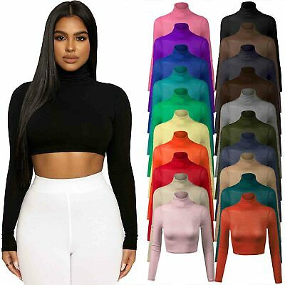 Womens Turtle Neck Crop Top Ladies Long Sleeve Polo Short Dance Stretch Vest Tee