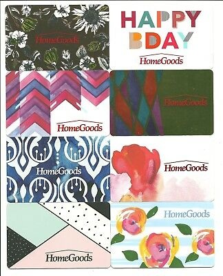 Lot of (8) HomeGoods Gift Cards No $ Value Collectible Flowers Birthday