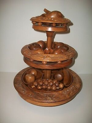 Vintage Carved  Monkey Pod 3 Tier Lazy Susan With Wooden Fruit