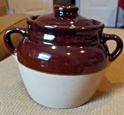 """Monmouth Pottery -- Vintage Bean Pot VGUC 6"""" tall with Lid"""