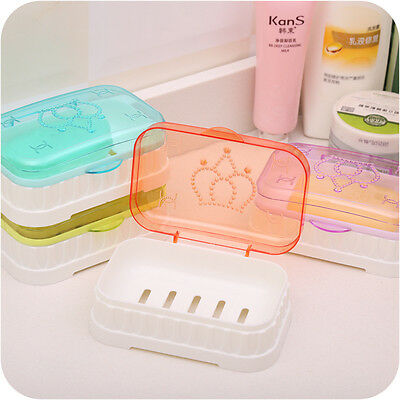 Bathroom Shower Candy Color Soap Box Dish Plate Holder Travel Carry Case AU