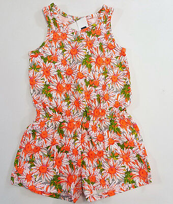 NWT Gap Kids Girls Size 4-5 6-7 8 or 10 Orange Daisy Flower Knit Shorts Romper