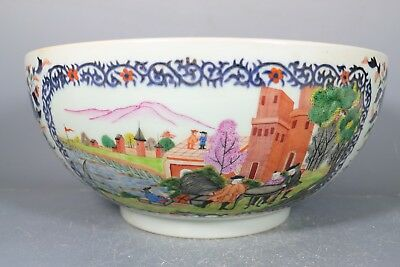 beautiful chinese export blue&white and famille rose porcelain gilded bowl