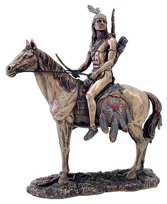 """9.75"""" Apache Indian on Horse Indio Statue American Native Warrior Collectible"""