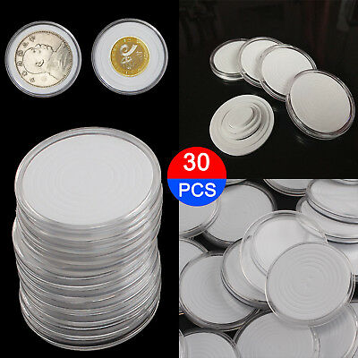 30 Pcs Coin Storage Box Clear Plastic Round Cases Capsules Holder Applied 46mm