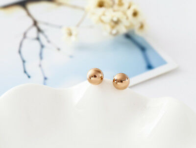 NEW 18K Rose Gold GF 6MM Classic Solid Round Ball Beads Stud Earrings Stunning