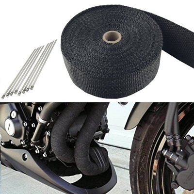 "Exhaust Header Heat Wrap 2"" x 33' Roll With Stainless Ties Kit Tool Black"