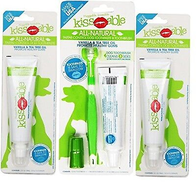 KissAble 3-Item Bundle; Toothbrush and Toothpaste Combo Kit for Dogs Plus 2 A...