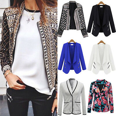Womens Career Slim Lapel Formal Business Blazer Suit Jacket Coat Casual Outwear