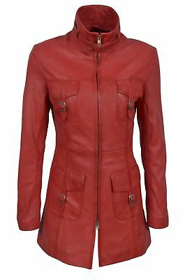 Green Red Tan Ladies Woman's Vintage Soft Washed Real Leather Jacket Trench Coat