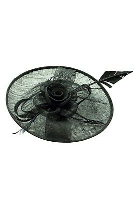 Large Ladies Day Races Royal Ascot Headband Clip Black Fascinator Wedding Hat UK